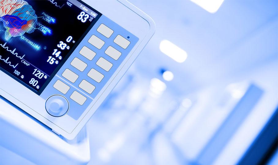 Krankenhausflur mit Monitor